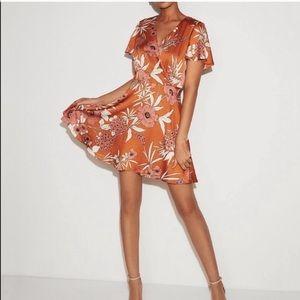 Express rust satin floral dress